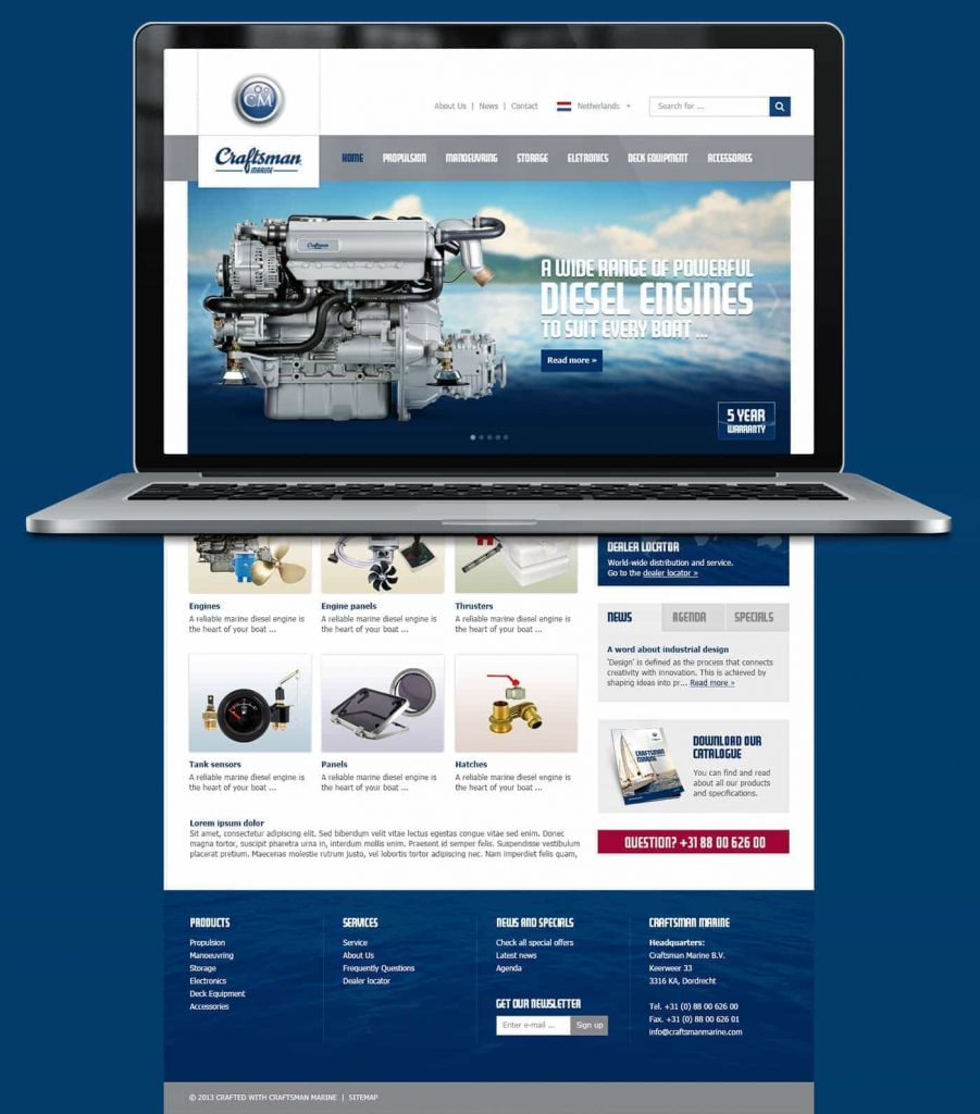 Craftsman Marine webdesign homepage