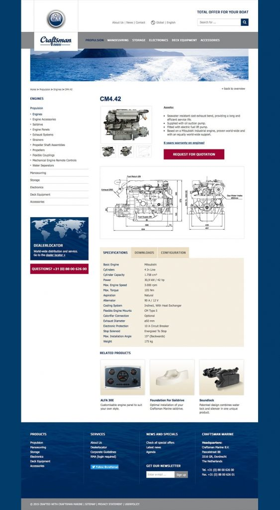 Craftsman Marine webdesign product detail
