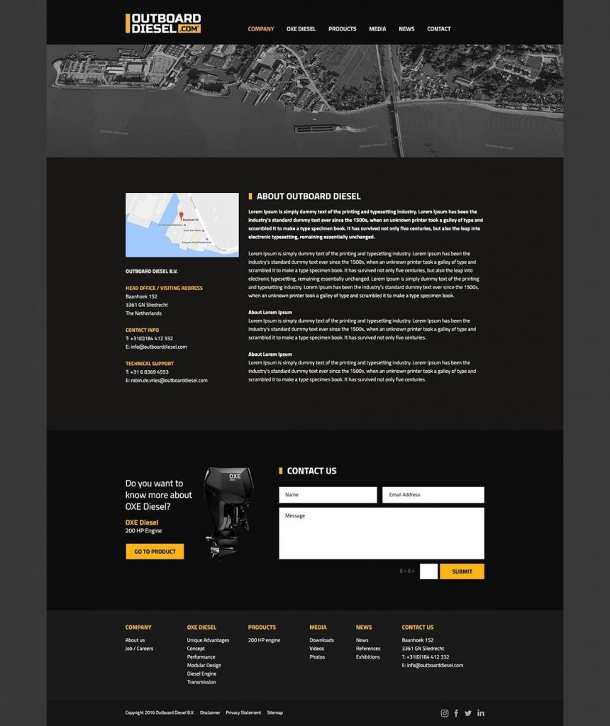 Outboard Diesel webdesign company page