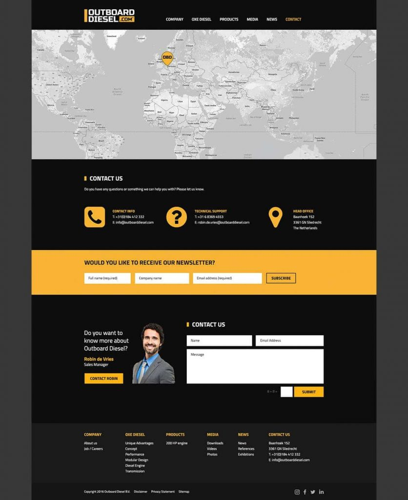 Outboard Diesel webdesign contact page