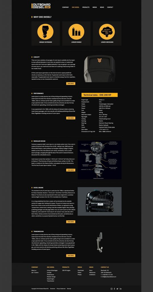 Outboard Diesel webdesign OXE Diesel page