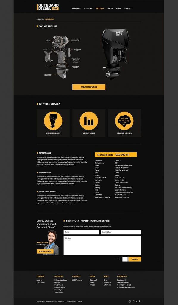 Outboard Diesel webdesign product page