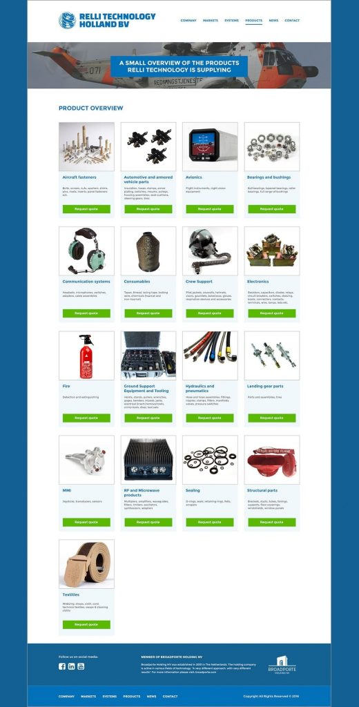 Relli Technology webdesign product page