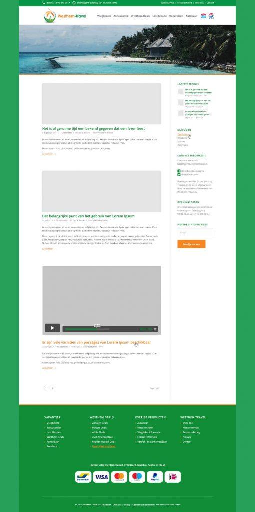 Westhem Travel webdesign nieuws pagina