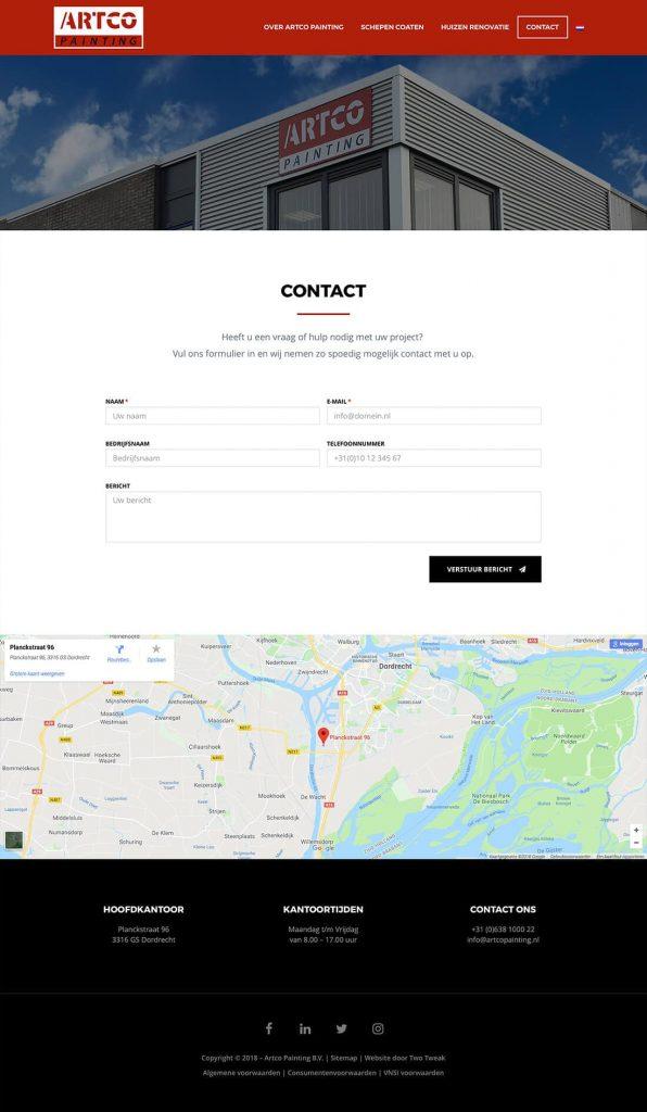 Artco Painting webdesign contact pagina