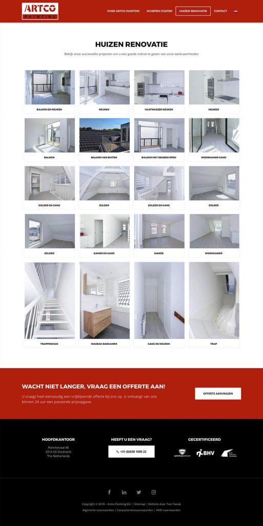 Artco Painting webdesign huizen renovatie